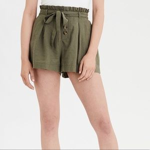 AEO High-Waist Paperbag Pleated Shorts Olive M NWT